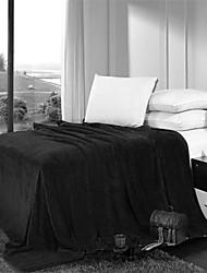 Couverture - W79XL94inch(W200XL240cm) - en Coton / Polyester - Noir