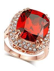 T&C Women's Ultra-big Ruby Ring 18k Rose Gold Plated Four Claw Princess Cut Red Crystal Cz Diamond Engagement Ring