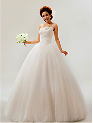 Ball Gown Petite / Plus Sizes Wedding Dress Floor-length Strapless Tulle with