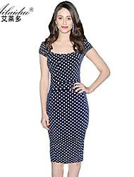 women's collarless Short sleeve polka-dot sllim pencil skirt (Polyester)