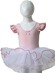 Pink and White Puffy Sleeve Leotard with Tutu for Ballet Dancing Performance for Ladies and Girls