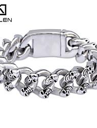 Kalen 2015 Men's Jewelry Unique Design Stainless Steel Casting Skull Bracelet