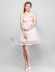 Knee-length Tulle / Stretch Satin Bridesmaid Dress - Blushing Pink / White / Black / Ruby Ball Gown One Shoulder