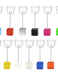 Lot 10pcs Color Cube Stand Bear Wire Place Card Holder Photo Memo Clip