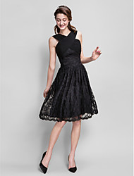 Homecoming Knee-length Lace Bridesmaid Dress - Black A-line V-neck