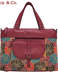 Kate@Co.® Women's Real Leather Figured Cloth Flower Print Multi-Function Handbag(14 Inch)