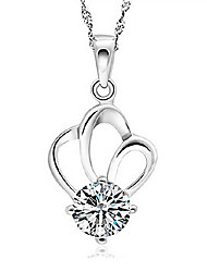 KIKI 925 Silver Crown Crystal Pendant Necklace (not including the necklace)