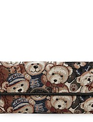 DANNY BEAR Women's Fashion Blue and Black Textile Bag Long Wallets