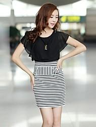 preto / branco chiffon top patchwork das mulheres ao algodão listrado vestidos de escritório vestido da senhora magro de trabalho com