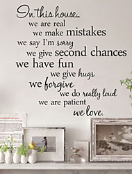 Wall Stickers Wall Decals, Style in This House English Words & Quotes PVC Wall Stickers