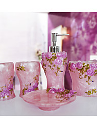 The Rosary Pattern Bathroom Ware 5 Sets/Pink