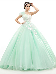 Formal Evening Dress - Sage Petite Ball Gown One Shoulder Floor-length Organza / Tulle / Charmeuse