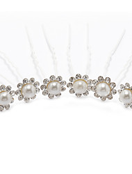Women's Rhinestone Alloy Imitation Pearl Headpiece-Wedding Special Occasion Hair Pin 6 Pieces