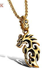 OPK®Super Cool China's Mascot Flame Dragon Hollow Out Personality Exaggerated Swagger Men Titanium Necklace