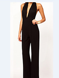 PEARL Women's Sexy/Bodycon/Casual/Party Round Sleeveless Jumpsuit (Cotton)