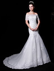 Trumpet/Mermaid Wedding Dress - White Court Train Off-the-shoulder Lace/Charmeuse