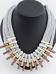 Women's European Bohemia Hand-Made Tassel Droplets Geometry Hollow Out Alloy Necklace   (More Colors)