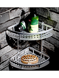 High Quality Triangled Bathroom Aluminium Double Layer Basket With Hooks