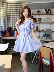 MENGFEILU®Women's Korea Style Single-breasted Short Sleeve Dresses