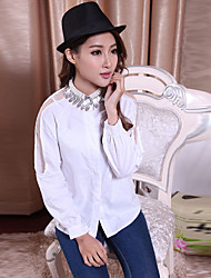 Women's Casua Solid Color Lace Stitching Leaf Beads Blouse