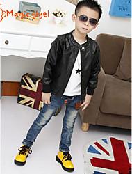 Boy's Spring Autumn Long Sleeve PU Jacket Soft Zip Coat (PU) QCB