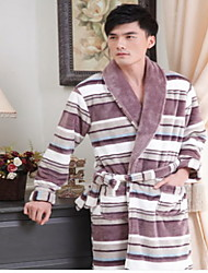 Bath Robe,High-class Man Yellow Stripe Print Garment Thicken