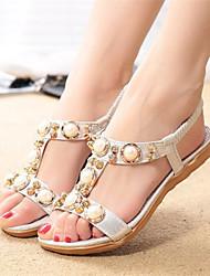 Sandálias ( PU , Dourado/Prateado ) Sapatos de Senhora - Salto Raso - 0-3cm