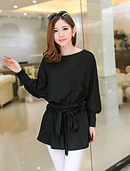 Women's Casual Micro Elastic Long Sleeve Regular T-shirt (Cotton)