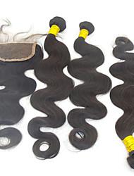 """4pcs lot 10 """"-28"""" extensiones de cabello real de peruanos negro natural con grado de cierre 6a excelente remy onda del cuerpo del pelo"""