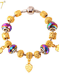 U7® Women's Heart Charms European Style Fashion 18K Gold Plated Crystal Beads Romantic DIY Beaded Bracelet
