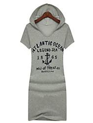 Women's Leisure English Print Hat Dress