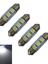 JIAWEN® 4pcs Festoon 36mm 1W 3x5050SMD 60LM 6000-6500K Cool White Reading Light LED Car Light (DC 12V)