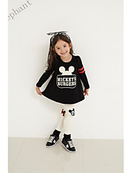 Big Elephant  Black New Spring Kids Girls sets outfits Dress T shirt+pants baby Clothes For 2-7Y F51