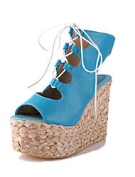 Zapatos de mujer - Tacón Cuña - Tacones / Plataforma - Sandalias - Oficina y Trabajo / Vestido - Semicuero - Negro / Azul / Blanco
