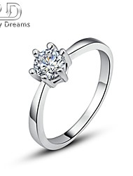Poetry Dreams Solid Sterling Solitaire Cubic Zirconia Ring Women's Ring