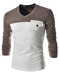 White Men's Casual Round Long Sleeve T-Shirts