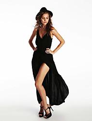 Women's Sexy Backless Deep V Neck Bodycon Evening Party Asymmetrical Dress