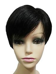 mono top 100% cheveux humains bangs secondaires courte ligne droite womens perruques