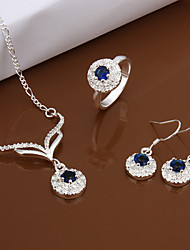 Silver Jewelry,Silver Fashion Jewelry Blue Crystal Necklace&Earrings&Ring Jewelry Sets For Women SS528