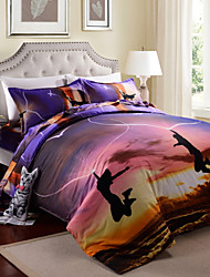 Duvet Cover Set,4 Piece Suit 3D Oil Painting Bedding Sets Cotton Printed Bedclothes Bed Linens Sheet Sets