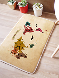 "Bath Mat Modern Memory Foam ""World Map"" W16"" x L24""- Multi-colours Available"
