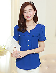 Women's Sexy Casual Micro Elastic Short Sleeve Regular Shirt (Polyester)