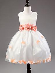 A-line Tea-length Flower Girl Dress - Satin/Tulle Sleeveless
