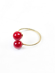 Fashion Women Red Acrylic Open Adjustable Ring