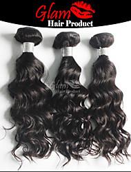 """3 PCS Lot 8""""-28"""" Mix Length Ms Lula Brazilian Human Hair #1B Natural Color Natural Wave Virgin Hair Bundles"""