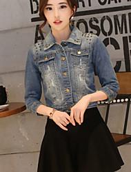 Women's Denim Jacket , Casual ¾ Sleeve