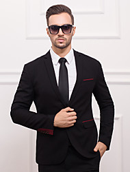 Suits Slim Fit Slim Notch One-Button Polyester Solid 1 Piece Black