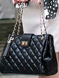 Women PU Barrel Shoulder Bag / Tote - White / Black