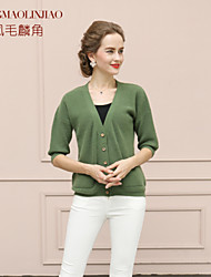 Women's Cashmere , Vintage/Casual/Party Long Sleeve