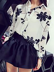 Women's Casual Cute Work Micro Elastic Long Sleeve Regular Shirt (Chiffon)